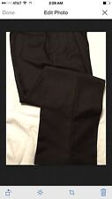 ROUNDTREE YORKE Mens Dress Pants Size 34X32 Stunning 100% Wool Brown Expender