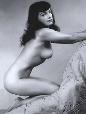 Vintage 1960s Bettie Page nude leaning on chair 8 x 10 Photograph