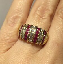 14k Yellow Gold 1.5 Ct Diamond Ruby Wedding Cocktail Estate Cluster Ring 7 1/2