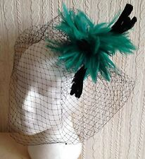 green feather black veiling fascinator millinery hair clip ascot wedding bridal