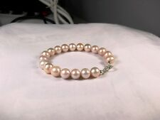 BRACCIALE PERLE ROSA NATURALI in ARGENTO 925 9,2 9,5mm con SFUMATURE pearls ml