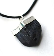 REIKI ENERGY CHARGED NATURAL RAW BLACK TOURMALINE CRYSTAL PENDANT PROTECTS small