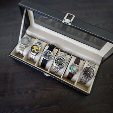Watch Box Leather Holds 6 Watches Glass Topped Cushion Storage White Stitch