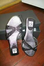 Calvin Klein-silver leather lizard pattern Nicky sandals.EU37M(fit38)New in box.