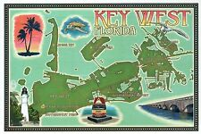 Key West Florida Southernmost Point Lighthouse Airport etc - Modern Map Postcard
