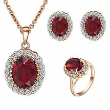 4 Pc Rose Gold Plated Ruby Red Faux Diamond Jewelry Set - Ring Necklace Earrings