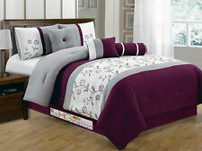 11 Floral Striped Embroidery Comforter Curtain Set Purple Gray Silver White King