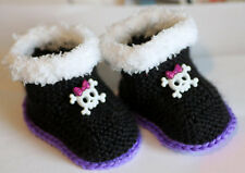 Knitted Baby Girl Booties/Slipper for the Rock-Punk-Goth Baby with Skull, 0-12 M