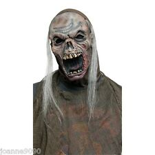 ADULT HALLOWEEN ZOMBIE HORROR MASK WITH HOOD AND WIG HAIR FANCY DRESS COSTUME BN