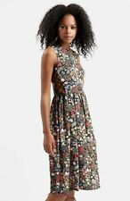 Topshop Woodland Floral Tie-side Midi dress, Size UK 8