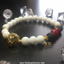 Handmade Men's Bead Bracelet White Agate, Lava Stone Gold Plated Lion Head 8mm