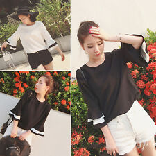Korean Fashion Womens Chiffon Casual Solid Tunic Cocktail Tops T-shirt Blouse