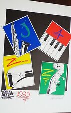 Vintage Jazz Poster Mobile Jazz Festival 1993 Leila Hollowell SIGNED