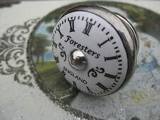 Antique/vintage style CLOCK FACE silver/white ceramic DOOR drawer KNOB