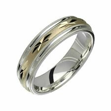 925 Sterling Silver W 10k Yellow Gold 6mm Wide Engagement Band for Him N Her