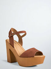 Torrid Platform Peep Toe Buckle Sandals Heels Shoes Brown Wide Width Sz 10 #2534