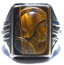 ORLANDS ART DECO ESTATE MENS OLD STERLING SILVER 10K GOLD TIGERS EYE CAMEO RING