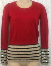 markus lupfer Sweater Red Wool Navy Stripe Sequins On Cuff Size XS