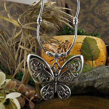 Women Vintage Style Tibetan Silver Hollow Butterfly Pendant Long Collar Necklace