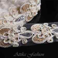 Dazzling --- Silky Embroidered Sequin Lace Fabric Trim *per yard*