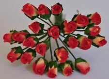"""Mulberry Paper Flower Tiny Rose bud Red Light Yellow base 1/4"""" miniature size"""