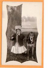 Real Photo Postcard RPPC - Little Girl with Finger in Mouth with Dog