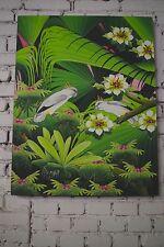 Gemälde Wand Bild Öl Handarbeit Bali Urwald Dschungel Papagei 93x70 cm