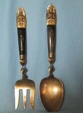 Vintage SBF Siam BRASS & EBONY Handle Serving FORK and SPOON