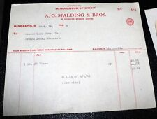1926 A.G. SPALDING Co. Minneapolis MN Invoice Sports