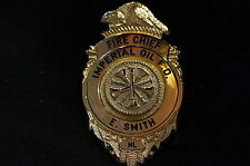 Canadian Imperial Oil Fire Department Named Cheif E Smith Wallet Badge