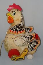 VINTAGE FISHER PRICE WOODEN TOY 'THE CACKLING HEN' VERY EARLY TOY FISHER PRICE