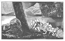 SCHLUMMERNDE SCHÖNHEIT & ZWERGE - Edy LEGRAND - Original Holzschnitt 1925