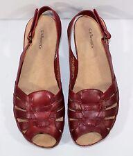 G.H. Bass Kace Sandals Women's 7.5 Dark Red Slingback Shoes Open Toe Comfort