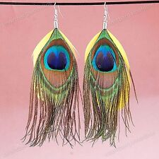 Pair Peacock Yellow Tail Feather Dangle Hook Women's Earrings Fashion Jewelry