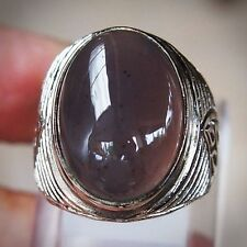 Dark Ink Chalcedony Ring Top HQ 100% Natural Indonesian Baturaja SIZE 7 - LV19