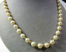 "14KT 14K Yellow Gold Clasp 6.5mm Akoya Saltwater Cultured Pearl 18"" Necklace"