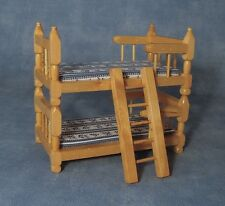 Pine Bunk bed with Blue / White Pattern on the Mattress Dolls House Miniature