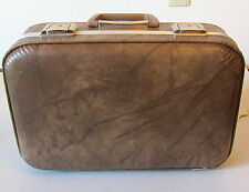 """Small 16"""" Vintage SUITCASE hard CASE Child's Carry on Over Night TAN with Mirror"""