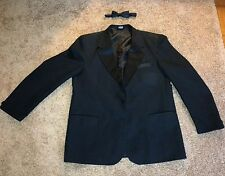 MEN'S ONE BUTTON BLACK TUXEDO JACKET(SZ-43R) w/ BOWTIE & KENNETH COLE VEST(SZ-M)