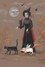 LE HALLOWEEN POSTCARD PRINT RYTA 2/150 VINTAGE STYLE 4x6 BLACK CAT WITCH PIG