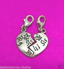 clip on BIG SIS LIL SIS CHARM HEART 2 IN 1 CHARMS .925 STERLING SILVER Thomas