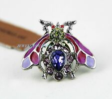 JAY STRONGWATER GORGEOUS TACK WASP NILS PIN BROOCH PURPLE SWAROVSKI NEW BOX