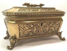 c. 19th c. Footed European Gilt Bronze Locked Ormolu Jewelry Casket or Box