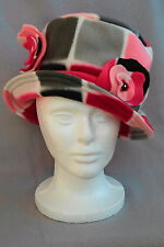 Women's Handmade Winter Bucket Fleece Floppy Hat w/Flowers  Pinks, Grey, Black