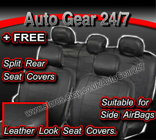 Car Taxi Black Leather Look Air Bag Compatible Split Rear Seat Covers Full Set