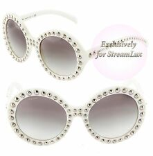 PRADA ORNATE JEWELED Round Sunglasses SPR 29Q 7S3-0A7 White