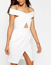 Oh My Love Off Shoulder Bodycon Dress Keyhole Asymmetric Skirt UK S 8 BD74 Ivory