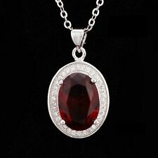"18"" 925 Sterling Silver Flame Red Oval Gemstones Garnet Necklace Pendant Box A25"