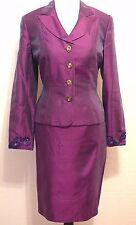 KAY UNGER $510 Cocktail 100% Silk Skirt Suit 8 Fitted Blazer Jacket Paisley Bead