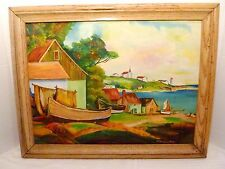 1955 New England HARBOR VIEW Wood Boats OIL PAINTING Framed Signed J.E. GATLYN